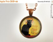 ON SALE Chat Noir : Glass Dome Necklace, Pendant or Keychain Key Ring. Gift Present metal round art photo jewelry HomeStudio. Silver Copper