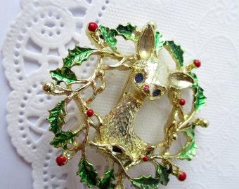 Vintage Gerrys Christmas Reindeer Brooch