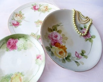 Vintage Pink Yellow Rose Plates Set of Three Nippon German Bavarian - Weddings Bridal