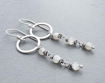 Moonstone Earrings, White Moonstone Dangle Earrings, Hammered Circle Dangle Earrings, Moonstone Drop Earrings, June Birthday, Silver, #4698