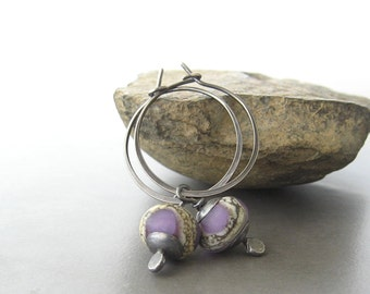 purple hoop earrings, purple lampwork earrings, sterling hoops, rustic hoop earrings, oxidized earrings, hoop earrings, purple earrings