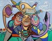 Say Cheese Selfy Original Painting Everybody Smiling Anthony Falbo