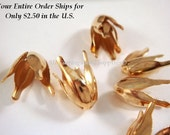 12 Gold Tulip Beadcap Flower Cone 13x7mm Plated Iron - 12 pc - F4183BC-G12