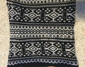 Black and white winter cowl, fair isle, cowl, winter cowl, black infinity scarf,