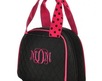 Personalized Lunch Bag Black Hot Pink Quilted Polka Dots Insulated Monogrammed