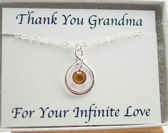 Grandma Necklace Grandmother Birthday Gift for Mom Mothers Day Birthstone Necklace Infinity Necklace November Birthstone Necklace Gift