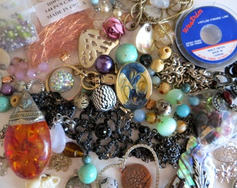 Jewelry Craft Destash Lot, 65 Pieces of Vintage and Newer Findings, Altered Art, lot 5