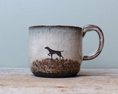 Black Ceramic Black Dog Mug with Grey Blue Brown Glaze