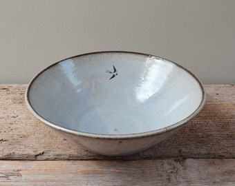 Blue Swallow Serving Bowl