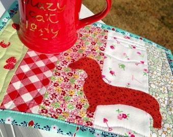 Dachshund quilt doxie mug rug dachshund applique dachshund gift dachshund lover doxie mug mat doxie mini quilt red dachshund table mat