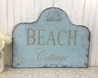 BEACH COTTAGE rustic wood sign, Shabby cottage chic chippy distressed