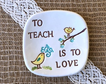 Teacher Gift - Thank You Teacher Ring Dish and Trinket Dish In Stock Ready to Ship