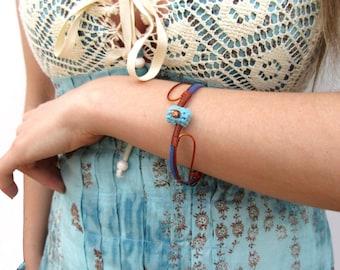 Boho chic bangle bracelet,gypsy bangle,fiber bangle,copper wire bangle,blue,aqua,cotton bracelet,giada cortellini,gift for her,summer