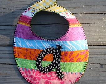 Baby Girl Bib Anna Ava Audriana Abigail Alivia Bright Rainbow Colors Quilted Embroidered Bible Scripture Artsy