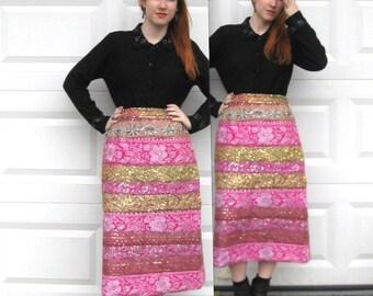 Vintage Sari Boarder Skirt / Indian Sari Skirt / Sequin Pencil Skirt / Embroidered Evening Skirt