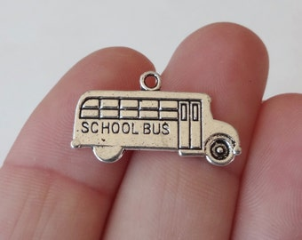 10 School Bus Charms (double sided) 23X13mm
