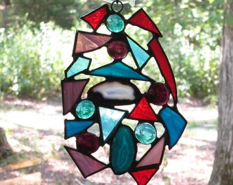 Stained Glass Suncatcher - Abstract Pieces out of Scrap Glass with Agates and Nuggets - Aqua Blue, Cranberry, Purple