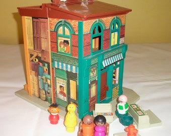 Vintage Fisher Price Sesame Street Apartment Vintage Fisher Price Playset, Childrens Play House