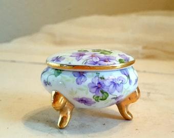 Lefton Chintz Violet Sugar or Trinket Box Purple