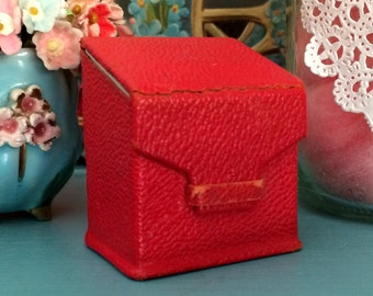Antique Tiny Leather Stamp Box Red Made in Germany