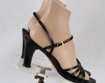 SALE Vintage 1970s - 1980s Black Patent Strappy High Heel Sandals by Amalfi by Rangoni Sz 8 1/2 N