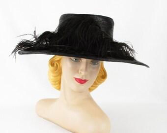 1920s Hat Black Straw Wide Brim Sailor Style w/ Ostrich Feathers by Philipsborn Sz 23