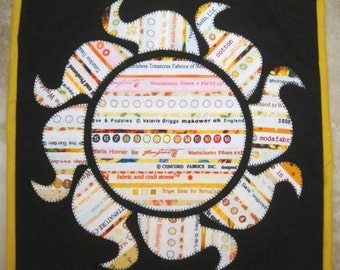 SOLAR FLARE in Yellow Mini Selvage Quilt Collection from Quilts by Elena Wall Hanging Table Topper Selvages