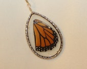 Natural Real Monarch Butterfly Wing in Clear Resin Necklace Pendant