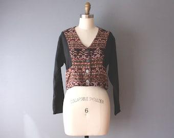 vintage 90s ikat jacket / cropped boho cotton jacket / bolero tribal jacket / medium