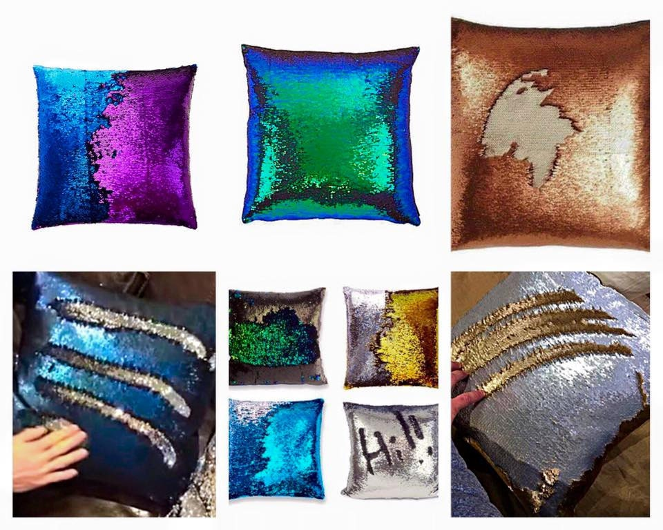 Sequin Mermaid Pillow Fantasy Colors Throw Pillow Color