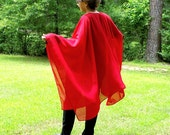 Regal Red Wrap, Ruana, Beach Coverup, Cape or Shawl in Filmy, Lightweight, Sheer Chiffon--One Size Fits Most Gypsies