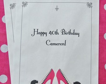 Candy Bags - Candy Buffet Bags - 40th Birthday - High Heel Favors - Favor Bags