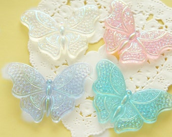 8 pcs  AB Clear Butterfly Cabochon (30mm44mm) DR551