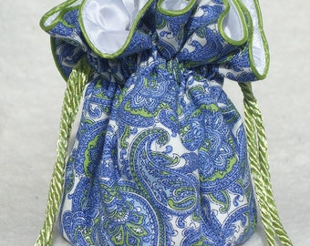 Periwinkle Paisley Travel Jewelry Pouch, Bag travel organizer in periwinkle and lime