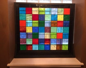 "Stained glass panel with wood stands / ""Patch Work Quilt 3"" (P-45)"