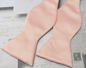 Mens Bowtie. Freestyle Light Peach Self Tie Bow tie With Matching Pocket Square Option
