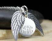 Sterling Silver Angel Wings Memorial Necklace Personalized with Engraved Monogram