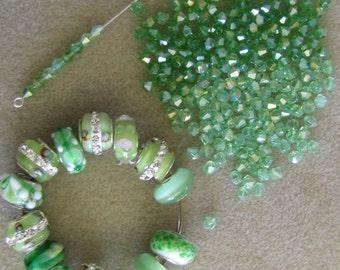 214 Green Mix, 14 European Style Glass,  Metal Insert, 200 4mm Green Bicones, Britz Beads Supply
