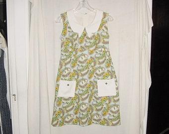 Vintage 60s Mod Mini Dress Paisley Poly Knit M Hippie