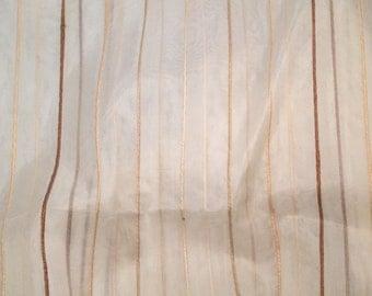 Ivory with Jute Stripes Silk Organza Fabric - 1/3 Yard