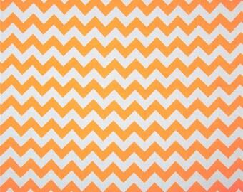 Riley Blake Chevron Neon Orange - Cotton Quilting Fabric  - fat 1/4 remnant