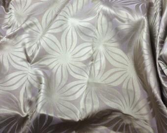 Silk Satin Fabric - Mauve & Gold Flowers  - fat 1/4