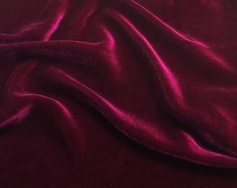 Iridescent DEEP FUCHSIA Silk Velvet Fabric - fat 1/4
