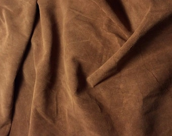 TOFFEE BROWN Suede Lambskin Leather Hide Piece #4