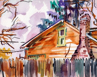 Original Watercolor Painting of Suburban Home - The Neighbor's Sky - Art by Jen Tracy