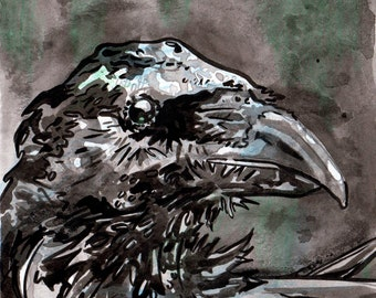 Inky Raven - Original Art of a Bird by Jen Tracy - Ink Painting of a Raven made for Inktober
