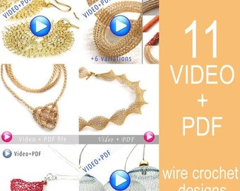 20% OFF - Unique Jewelry Crochet Pattern Combo Video tutorial PDF step by step instructions. 11 Amazing Jewelry designs