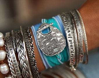 Bohemian Stacking Bracelet, Bohemain Jewelry, Boho Jewelry, Boho Bracelet, Boho Silk Wrap Bracelet Boho Stacking Bracelets ONE Boho Bracelet