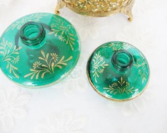 miniature perfume bottles jade green glass mikado japan no lids