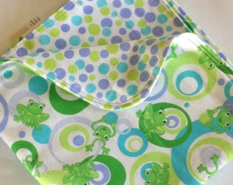 Frog Polka Dot Large Flannel Double Sided Receiving Blanket